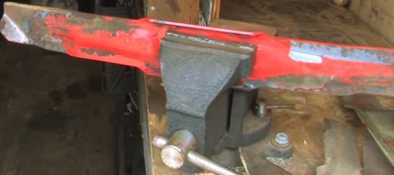 lawn mower blade on vice